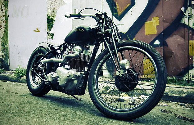 Norton Atlas bobber custom motorcycle by Machine of Australia