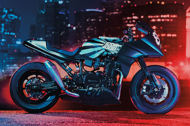 GPZ900R customized by the motorcycle apparel brand Icon.
