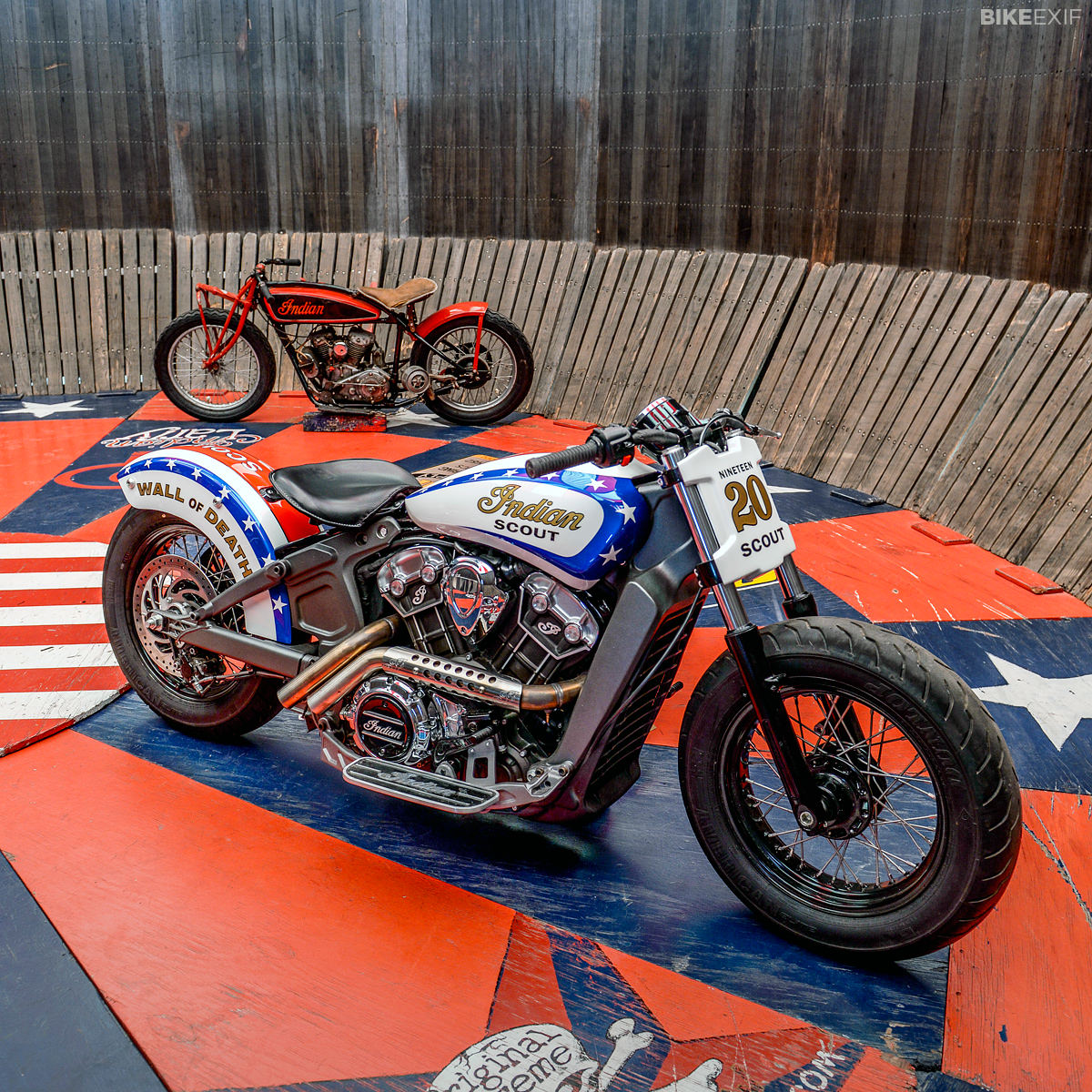 The current model Indian Scout has been converted into a Wall of Death motorcycle
