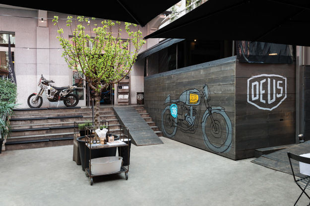 A look behind the scenes at one of Italy's top custom motorcycle shops, Deus Milano.