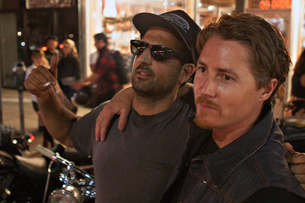 Custom motorcycle builders Yaniv Evan and Roland Sands, owners of For The Love Of Motorcycles on Melrose Avenue.