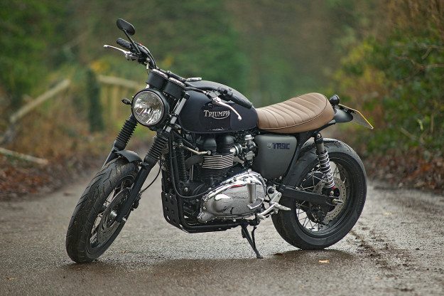 A custom Triumph Bonneville T100 built by the English workshop Spirit Of The 70s.