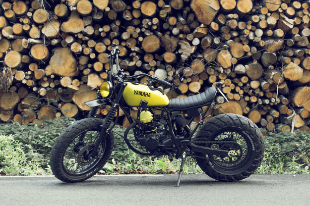 A fresh and funky custom Yamaha TW125 built by Le French Atelier.