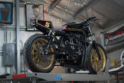 The Player: DP Customs's radical 1200 Sportster looks magnificent in the classic JPS racing livery.