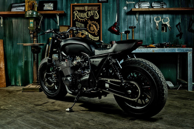 Guerilla Four: a stealthy custom Yamaha XJR 1300 from Rough Crafts.