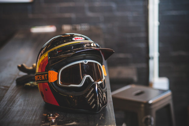 Bell Moto III helmet with Ride 100% Barstow goggles