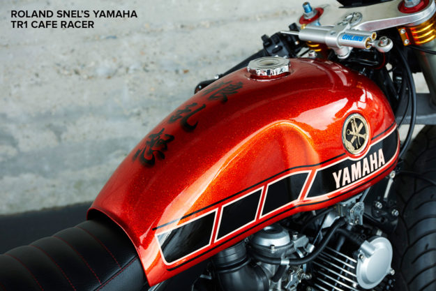 Paint on the tank of Roland Snel's Yamaha cafe racer
