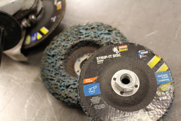 Stripping disc for motorcycle paint preparation