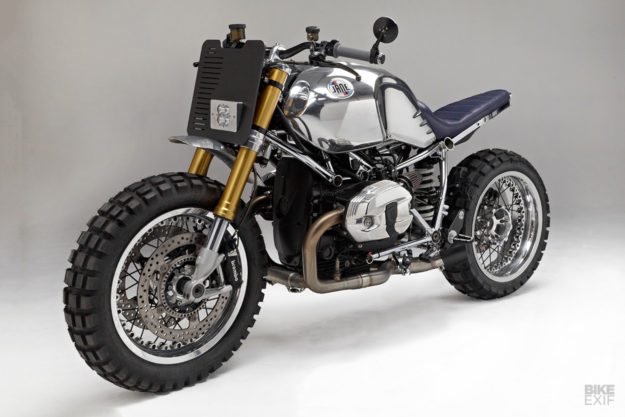 A gleaming custom BMW R nineT from Jane Motorcycles