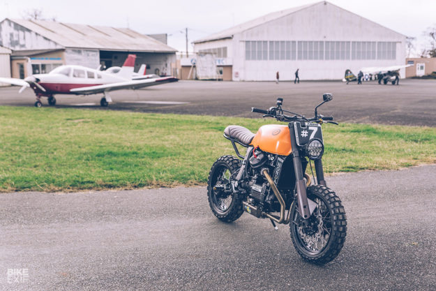 A heavily customized Honda CX650 scrambler built by Freeride for a former supermoto racer