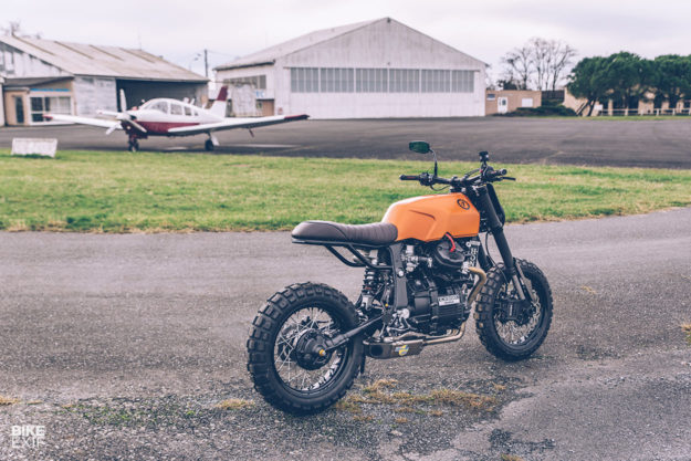 heavily customized Honda CX650 scrambler built by Freeride for a former supermoto racer
