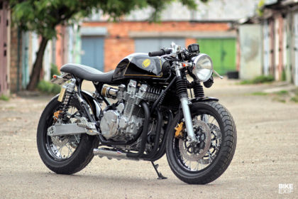A Honda cafe racer with two engines blended into one