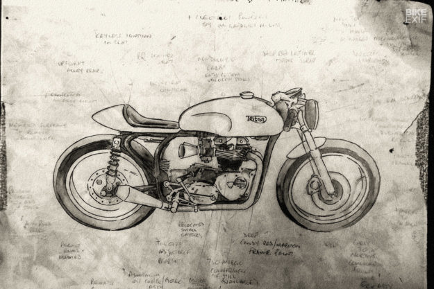 Sketch: Triton cafe racer by Foundry Motorcycles