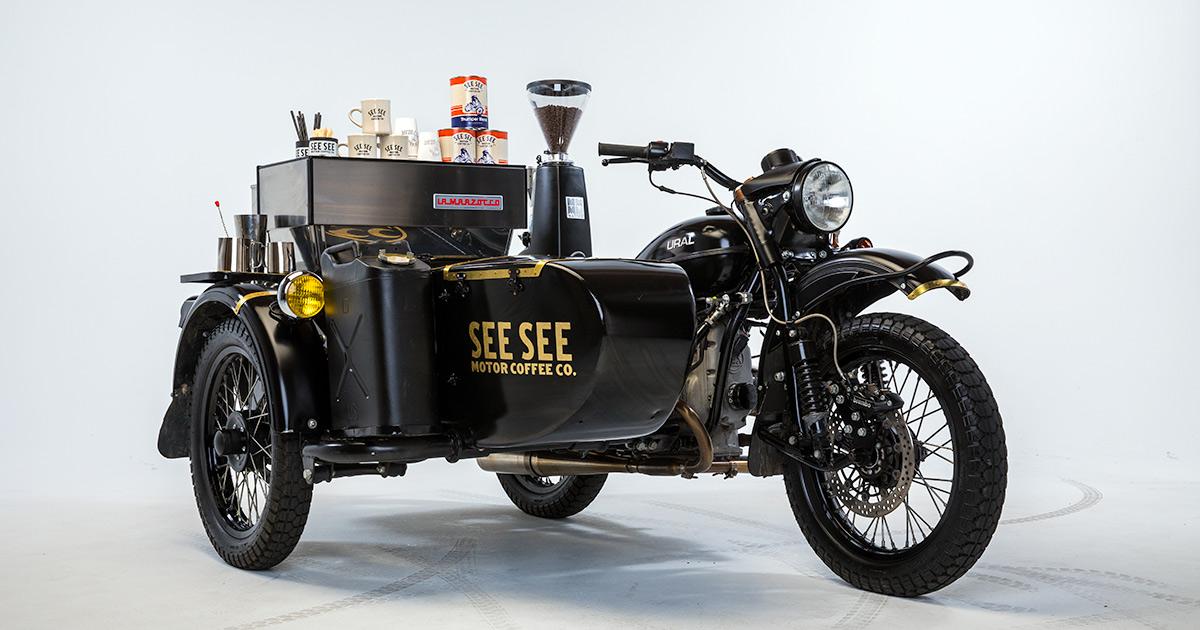 More café than racer: The Ural with an espresso machine