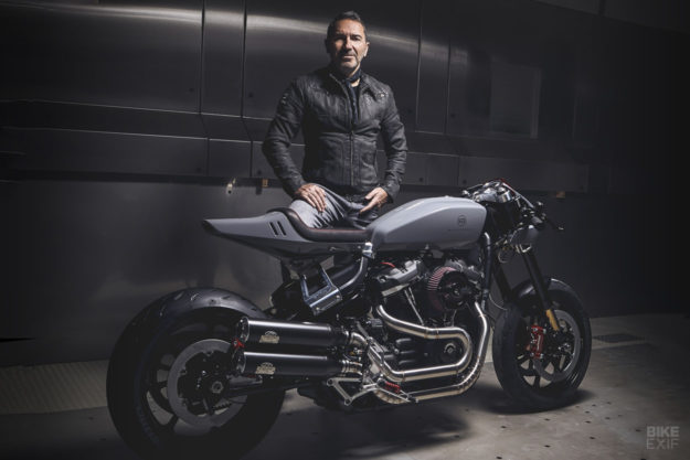 Sacha Lakic and his Harley-Davidson Fat Bob custom