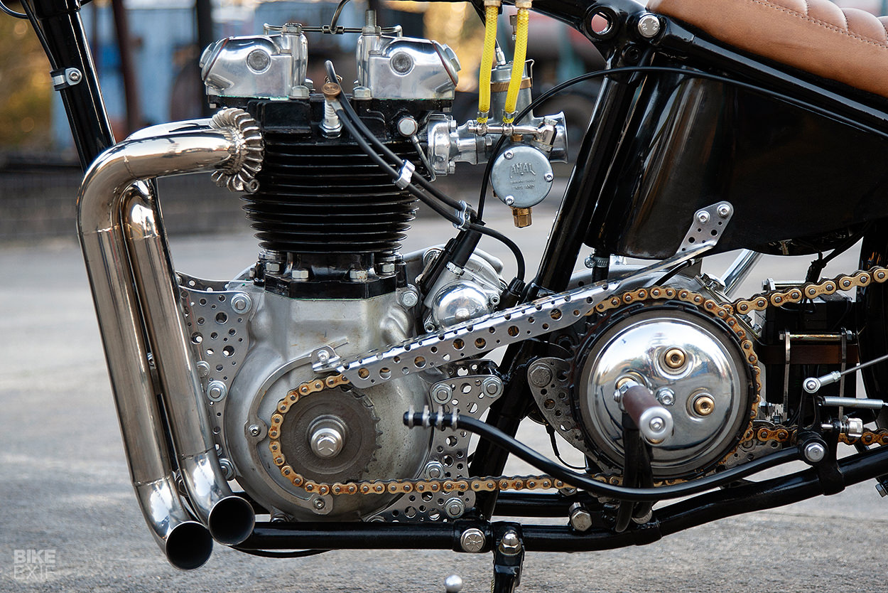 Vintage bobber built from Triumph, BSA and Yamaha parts