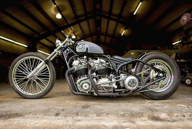 Twin-engined Norton motorcycle by Flyrite Choppers