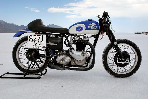 Triumph T110 at Bonneville Salt Flats