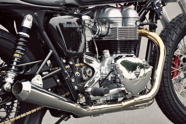 This Triumph Bonneville T100 custom was built for Arctic Monkeys drummer Matt Helder.