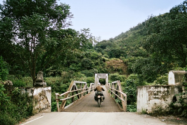 Adventure motorcycles: bridge crossing