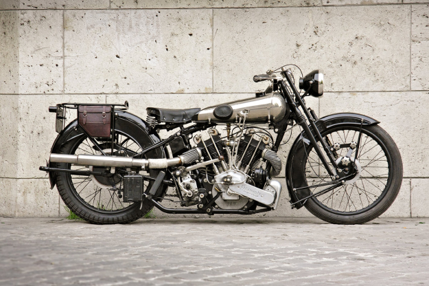 Authentic: the Brough-Superior motorcycle.