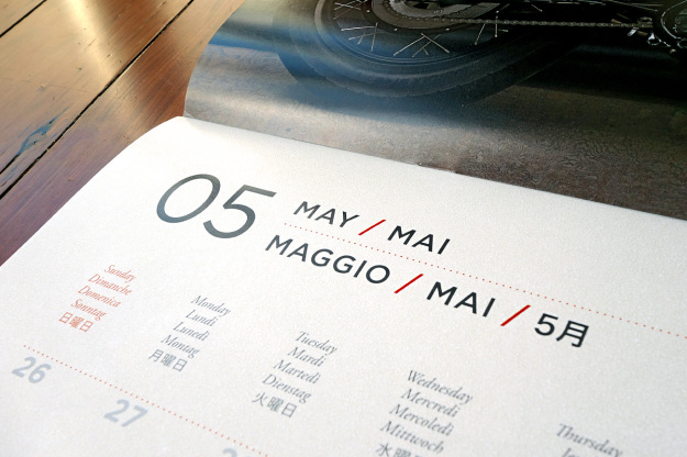 High quality type design in the 2015 Bike EXIF motorcycle calendar.