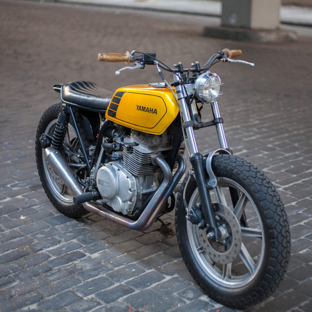 This funky Yamaha XS400 belongs to Ginger McCabe, of New Church Moto, the USA's top custom motorcycle upholstery specialist.