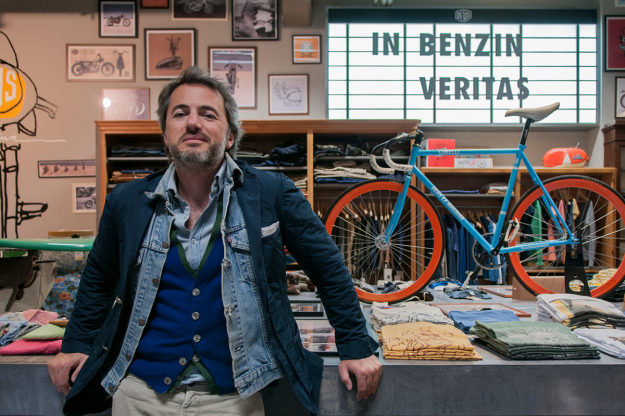 Filippo Bassoli, co-founder of one of Italy's top custom motorcycle shops, Deus Milano.