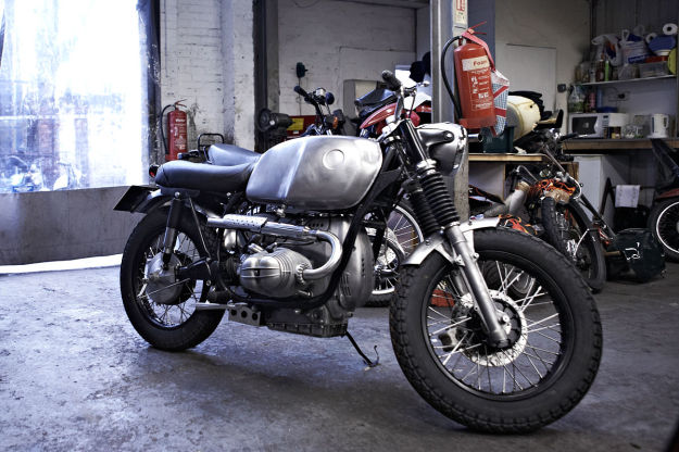 UMC-002, a BMW scrambler with high-level pipes built by Untitled Motorcycles.