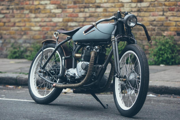 They don't come more old school than this this board track-inspired Triumph T100 SS.
