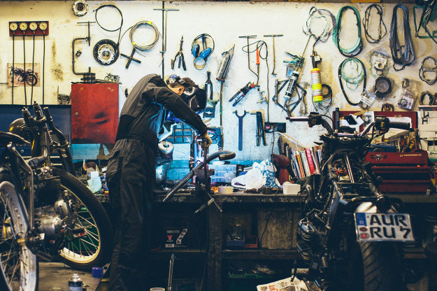 The workshop of London-based Untitled Motorcycles.