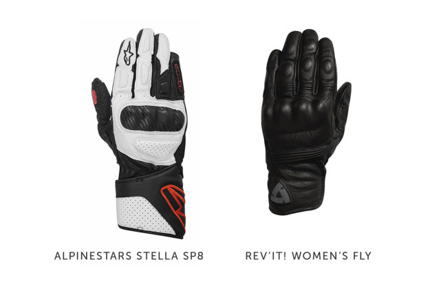Women's motorcycle gear: gloves by Alpinestars and REV'IT!