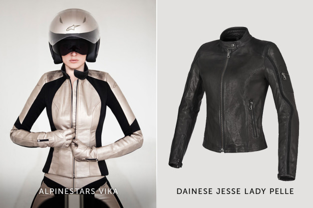 Women's motorcycle gear: Alpinestars and Dainese motorcycle jackets.