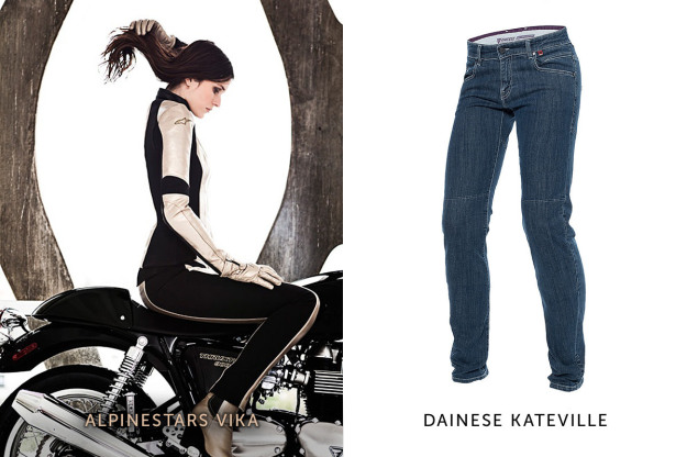 Women's motorcycle gear: jeans by Alpinestars and Dainese.