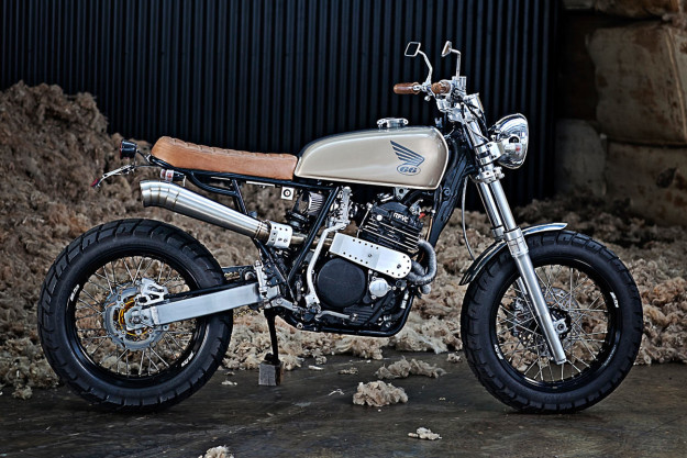 This Honda XR600 was set up for the Australasian Safari. It's now retired, and starting a new life as a very classy street tracker.
