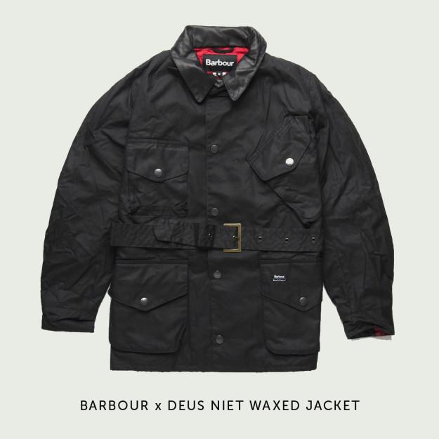 Barbour x Deus motorcycle jacket.