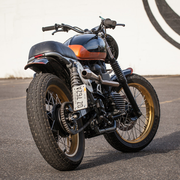 Teeth Gnasher: a race-ready Triumph Scrambler bike.