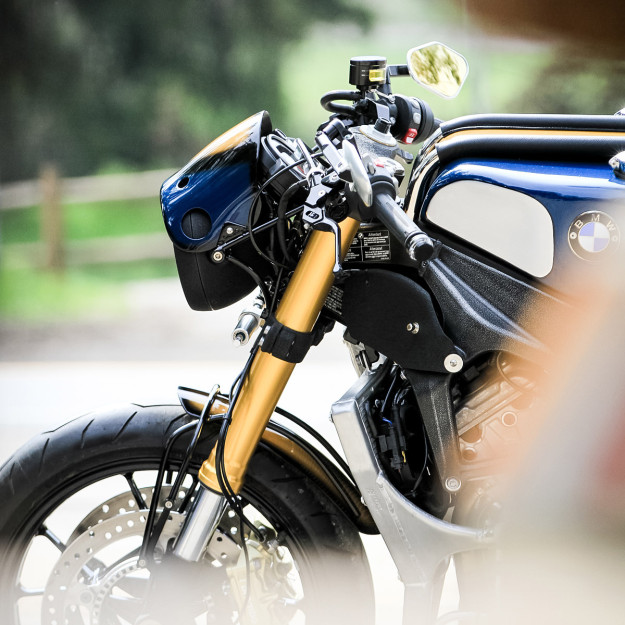 BMW S1000R cafe racer built for Orlando Bloom by Deus Customs, L.A.