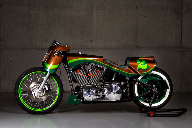 Custom Harley Fat Boy built by Tom Mosimann of the Swiss workshop GS Mashin.