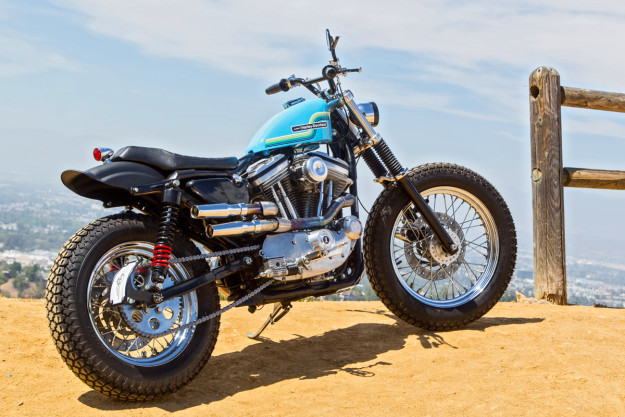 Welcome to Hollywood: A Harley Sportster 883 ready for the dirt.