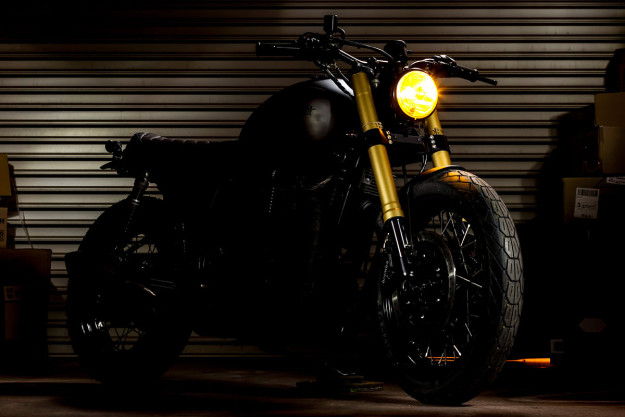 The Maltese Falcon: A Triumph Bonneville cafe racer with Ducati forks by Macco Motors.