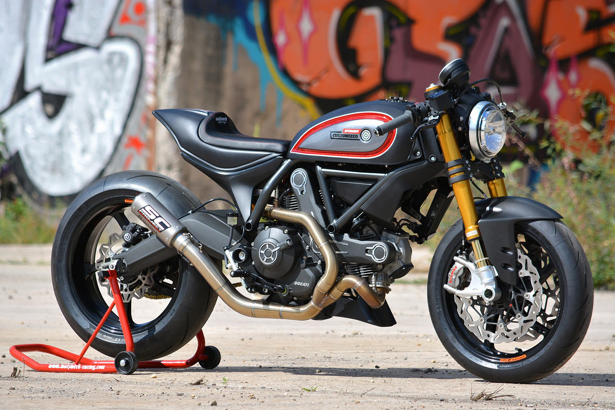 Showstopper: a hot-rodded Ducati Scrambler custom from Marcus Walz.