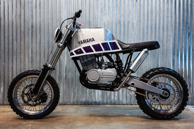 Yamaha RD350 dual sport custom by Threepence Moto.