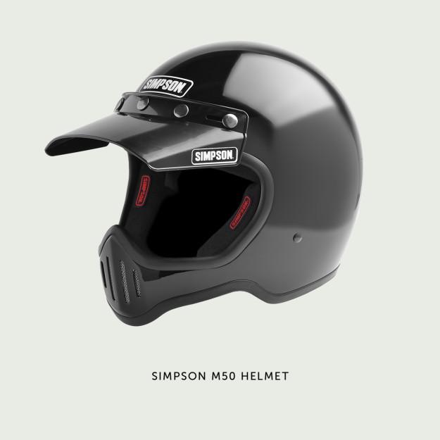The Simpson M50: a modern remake of a vintage motocross helmet.