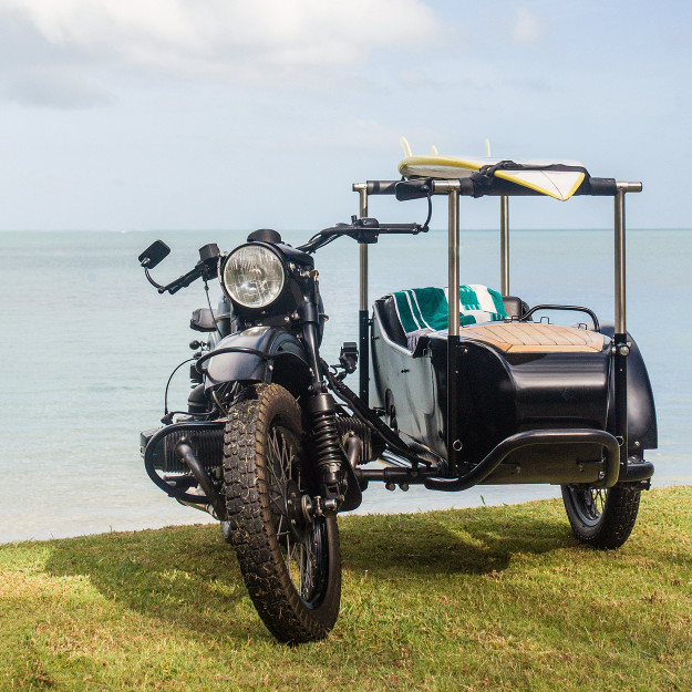 A Queensland engineer built this Ural sidecar for his dog and his surfboard.