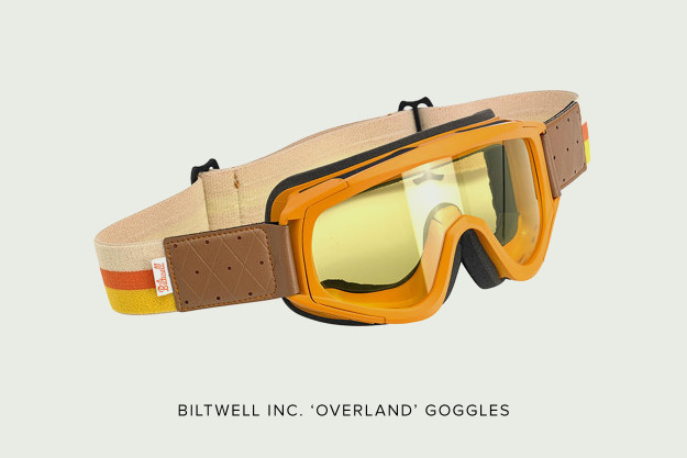 Biltwell Overland motorcycle goggles.