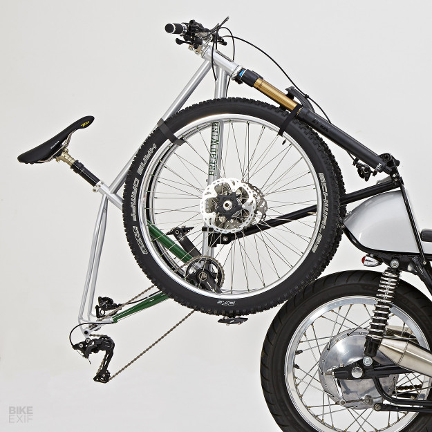 Not Your Everyday Carry: A rack to carry your pushbike on the back of a motorcycle.