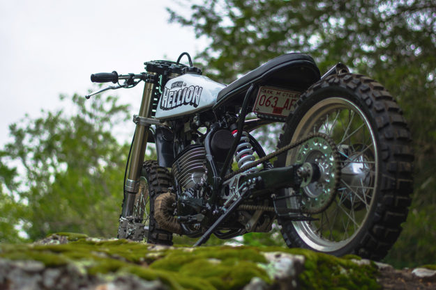Hellion: An off-the-wall Yamaha WR500 by custom builder One-Up Moto Garage.