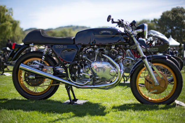 Mitch Talcove's remarkable 'Vincati'—a 1973 Ducati frame with a replica Vincent engine.