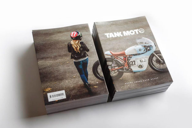 Anthony Scott's Honda CB550 cafe racer—on the cover of Tank Moto magazine.